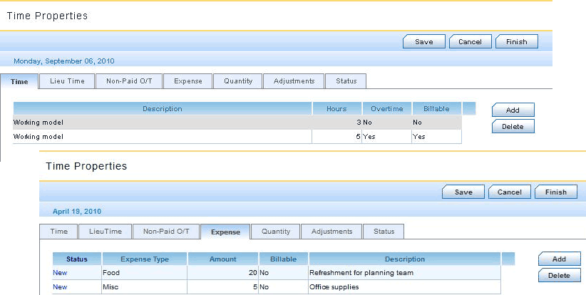 Timesheet - Entering OverTime, Billable Hours and Expenses